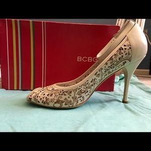 BCBG Ornate White Ankle Strap Heels
